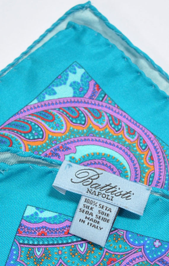 Battisti Silk Pocket Square Aqua Paisley