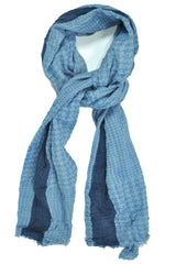 Battisti Wool Scarf Blue Houndstooth