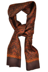 Battisti Silk Scarf Brown Copper