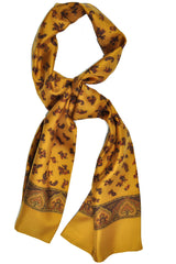 Battisti Silk Scarf Yellow Copper Paisley