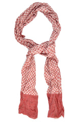Battisti Wool Silk Scarf Burgundy Gray Check