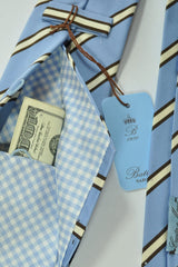 Battisti Tie Sky Blue Stripes Special Back Pocket