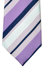 Battisti Tie Lilac Sky Blue Navy Stripes Special