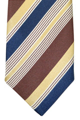 Battisti Tie Brown Cream Navy Stripes