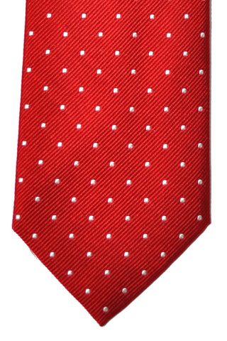 Battisti Sevenfold Tie Red White Silver Dots SALE