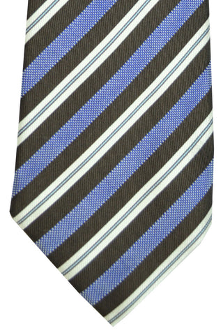 Battisti 7 Fold Tie Brown Purple Silver Stripes