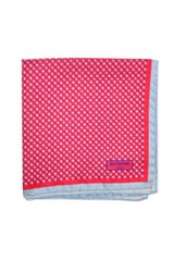 Battistoni Pocket Square Red Sky Blue