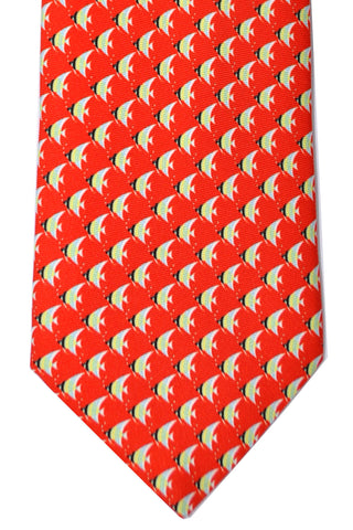 Battistoni Tie Red Fish Novelty Necktie SALE