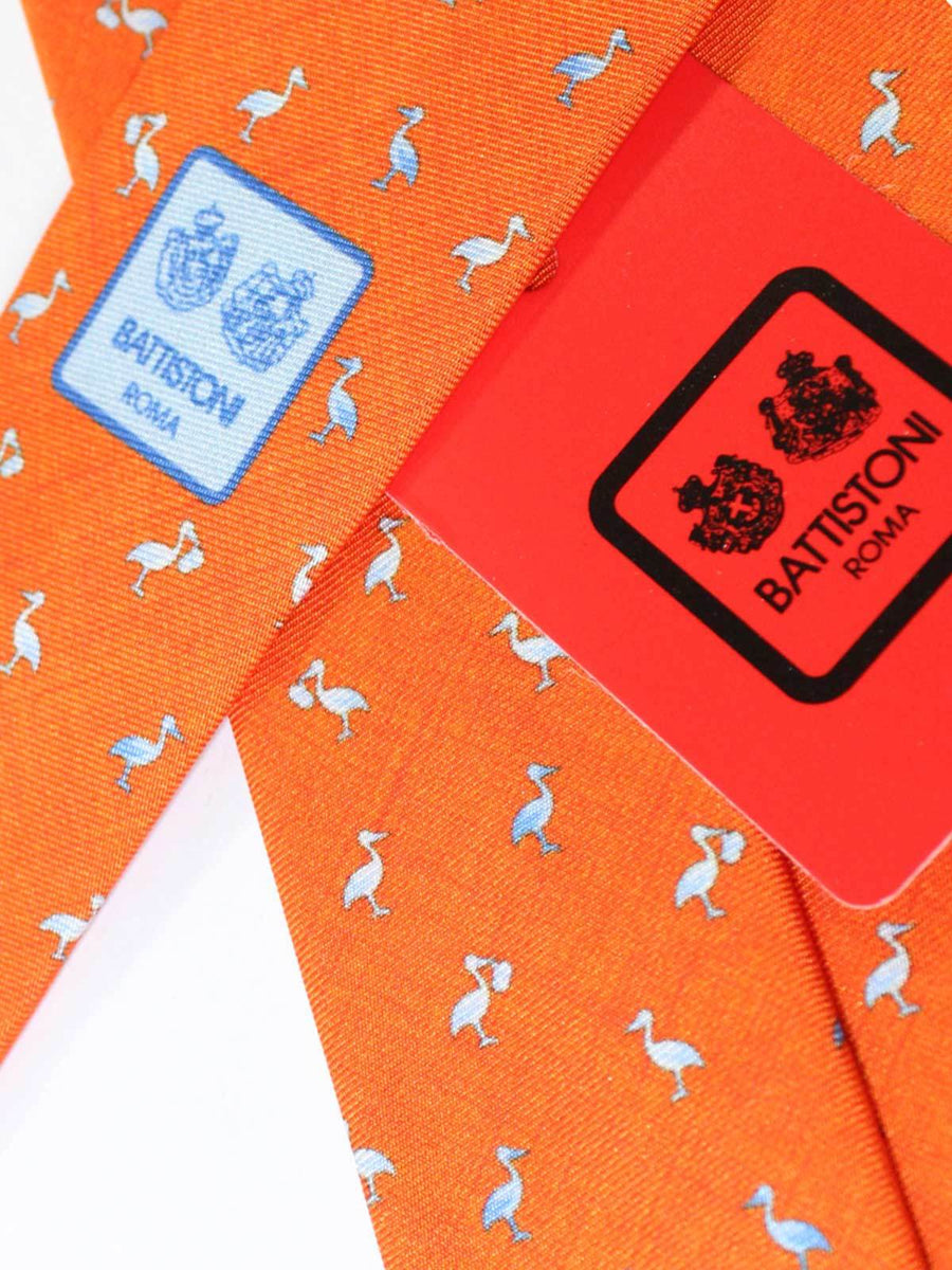 Battistoni Tie Orange Stork Novelty Design