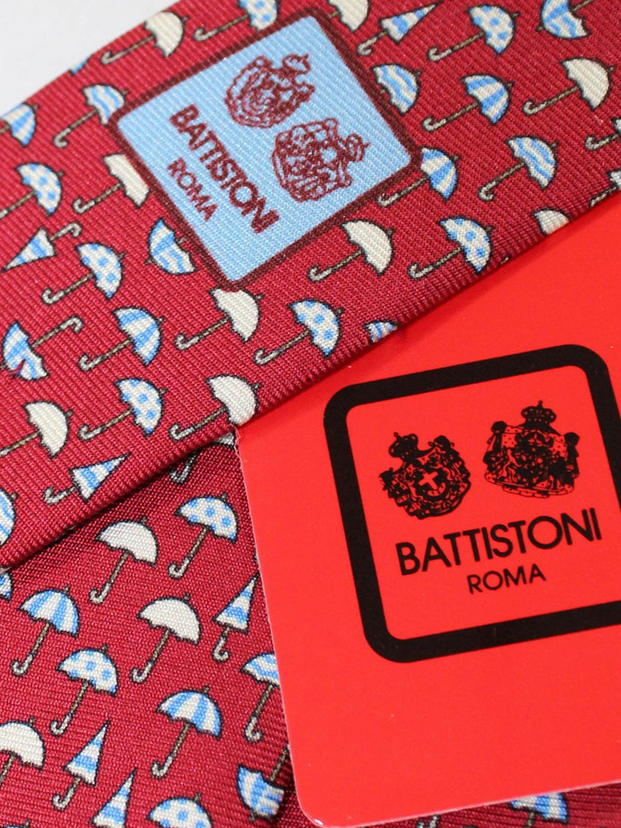 Battistoni Silk Tie Maroon Umbrella Novelty Design