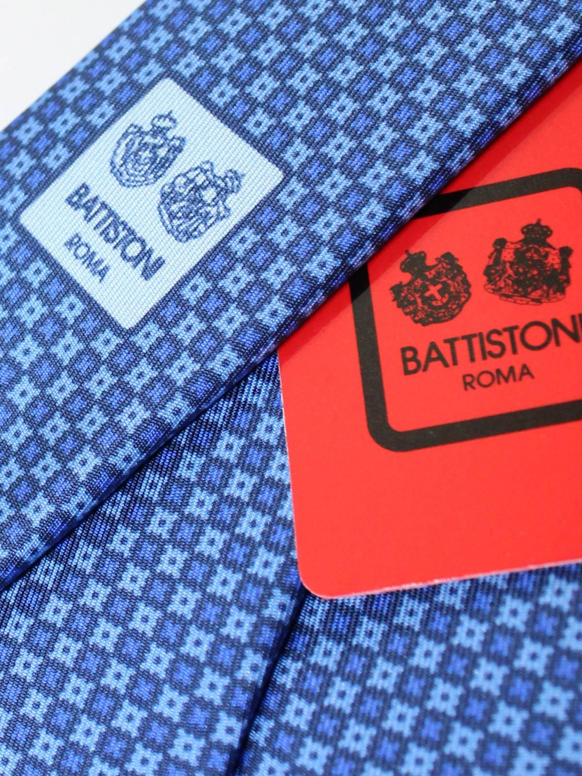 Battistoni Silk Tie Blue Geometric