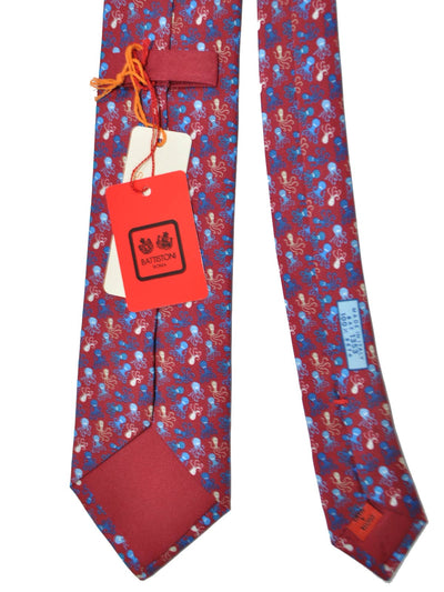 Battistoni Tie Maroon Octopus Design