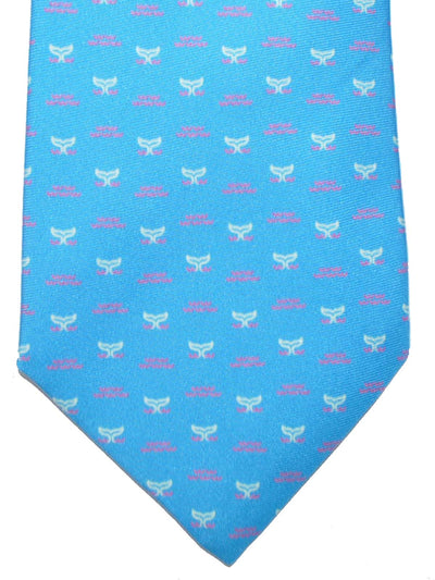 Battistoni Silk Tie Ocean Blue Whale Design