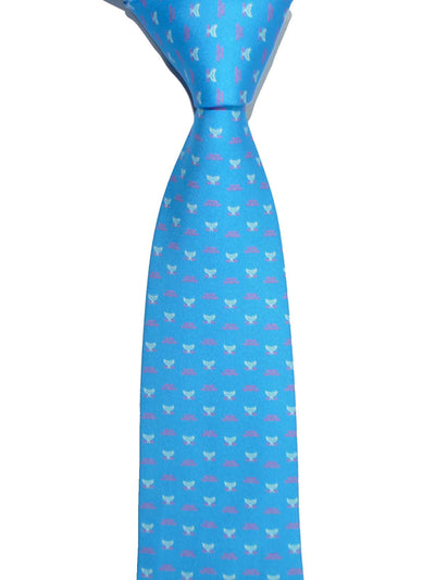 Battistoni Silk Tie Ocean Blue Whale