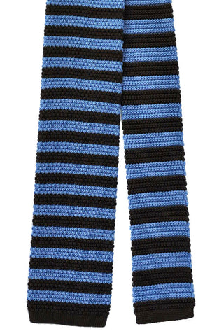 Battistoni Square End Tie Silk Brown Blue Stripes