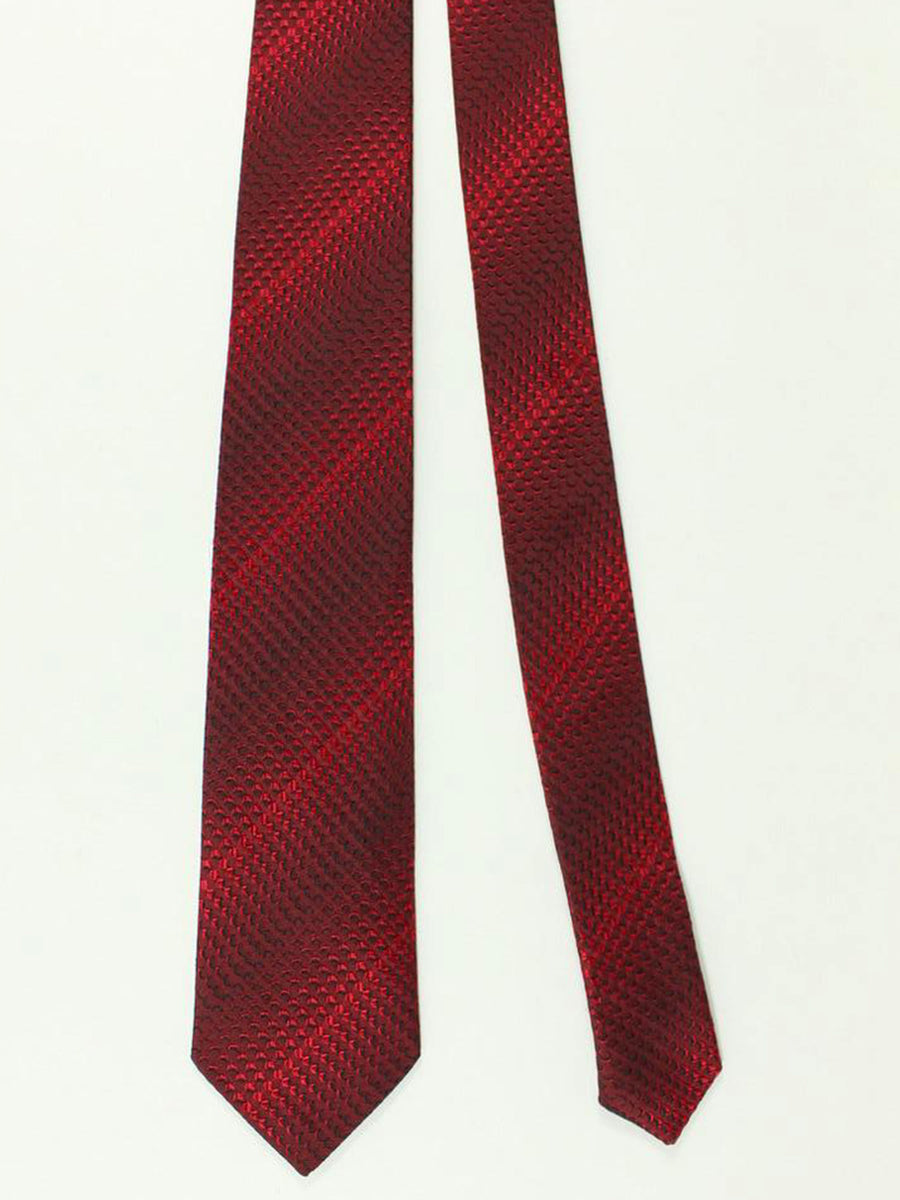Bikkembergs Tie Red Black Geometric Design