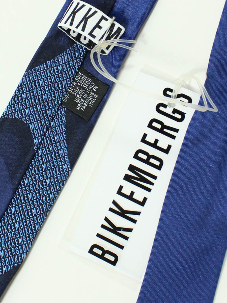 Bikkembergs Tie Skinny Midnight Blue Logo Square End Necktie