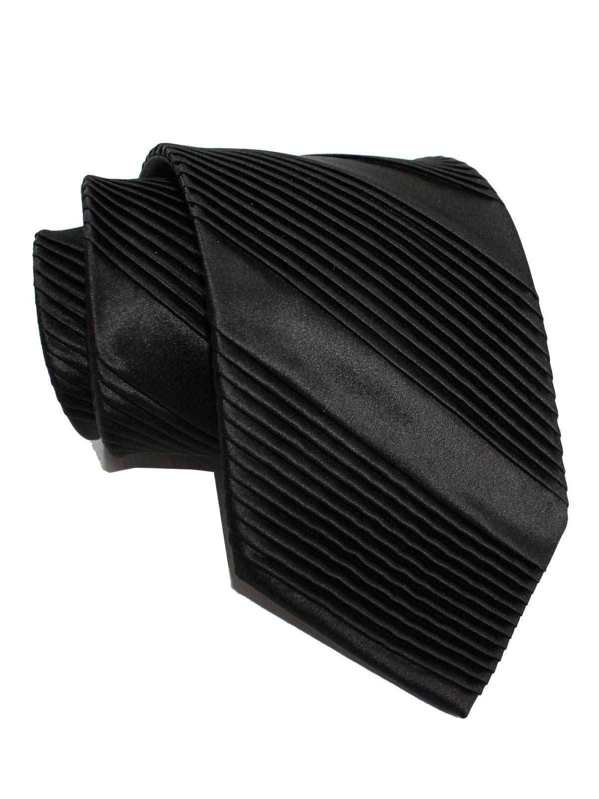 Stefano Ricci Pleated Silk Tie Black Solid Design - Wide Necktie
