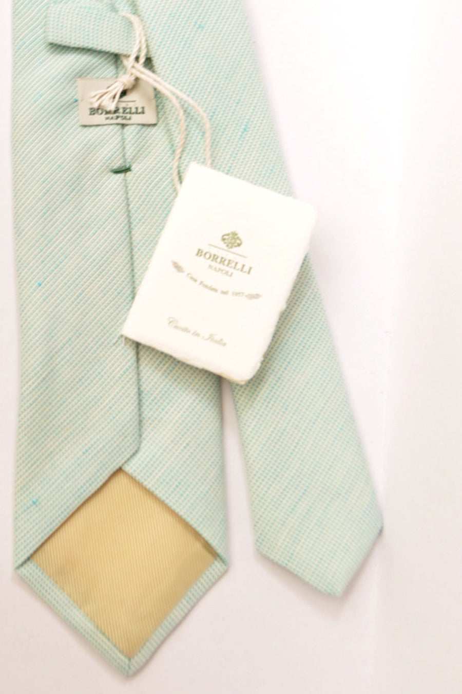 Borrelli Sevenfold Tie ROYAL COLLECTION Aqua Silver