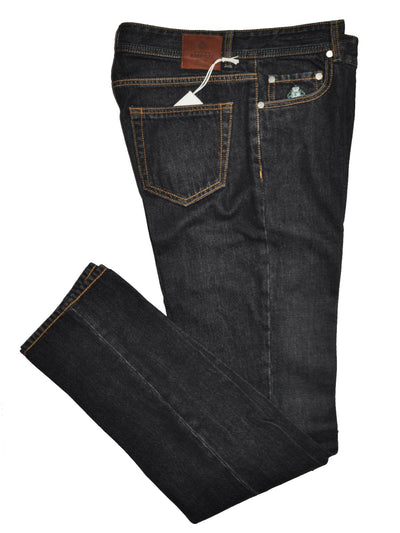 Luigi Borrelli Jeans Black Denim Slim Fit Zip Fly