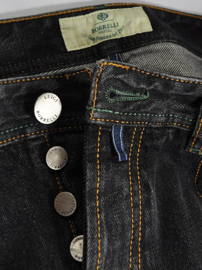 Luigi Borrelli Denim Jeans Black Denim Slim Fit Button Fly
