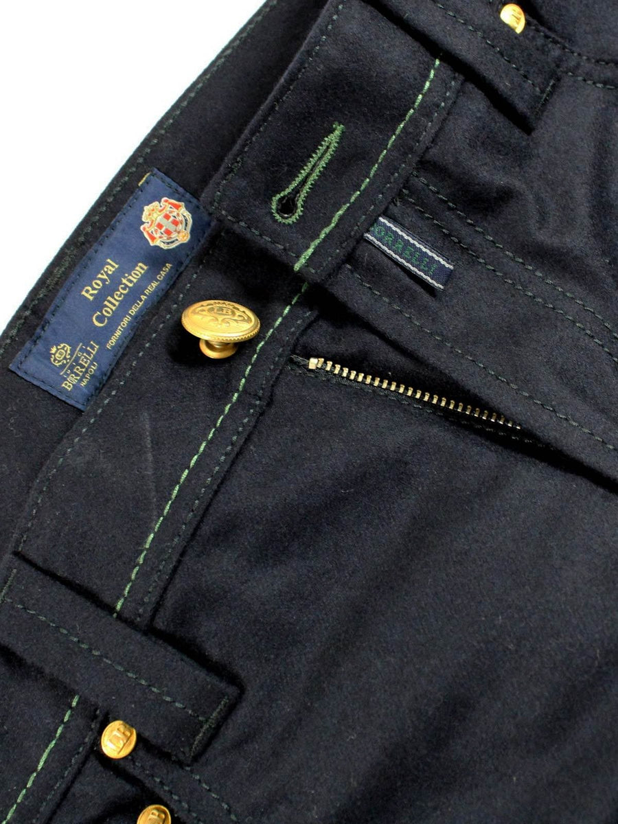 New Luigi Borrelli Wool 5 Pocket Pants Navy