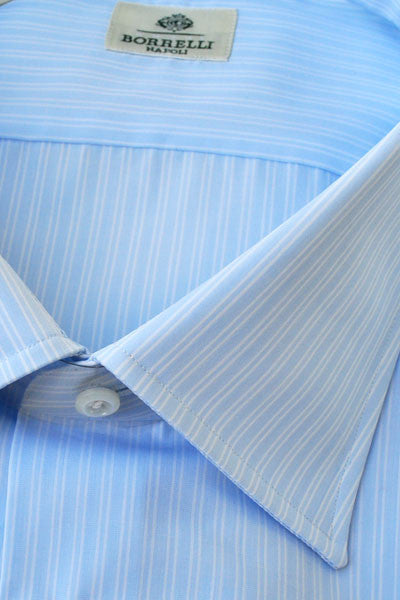Borrelli Dress Shirt Light Blue Stripes French Cuffs 40 - 15 3/4 SALE