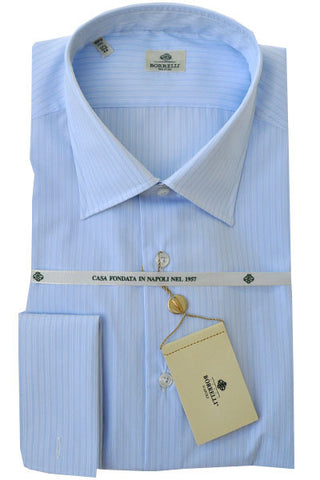 Luigi Borrelli Dress Shirt Light Blue Stripes French Cuffs 40 - 15 3/4