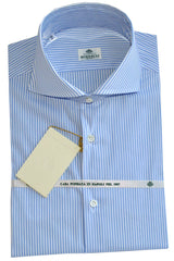 Luigi Borrelli Shirt White Blue Stripes