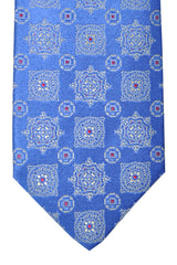 Luigi Borrelli Sevenfold Tie Royal Silver Red Geometric Royal Collection