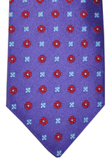 Luigi Borrelli Sevenfold Tie Purple Red Sky Blue Floral