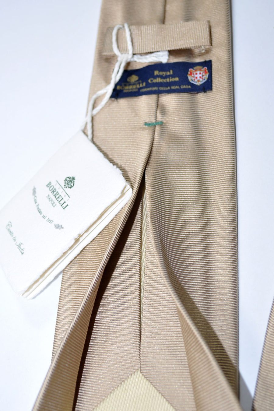 Luigi Borrelli Sevenfold Tie Royal Collection Taupe Grossgrain