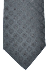 Luigi Borrelli Sevenfold Tie ROYAL COLLECTION Dark Gray Black Silver Circles