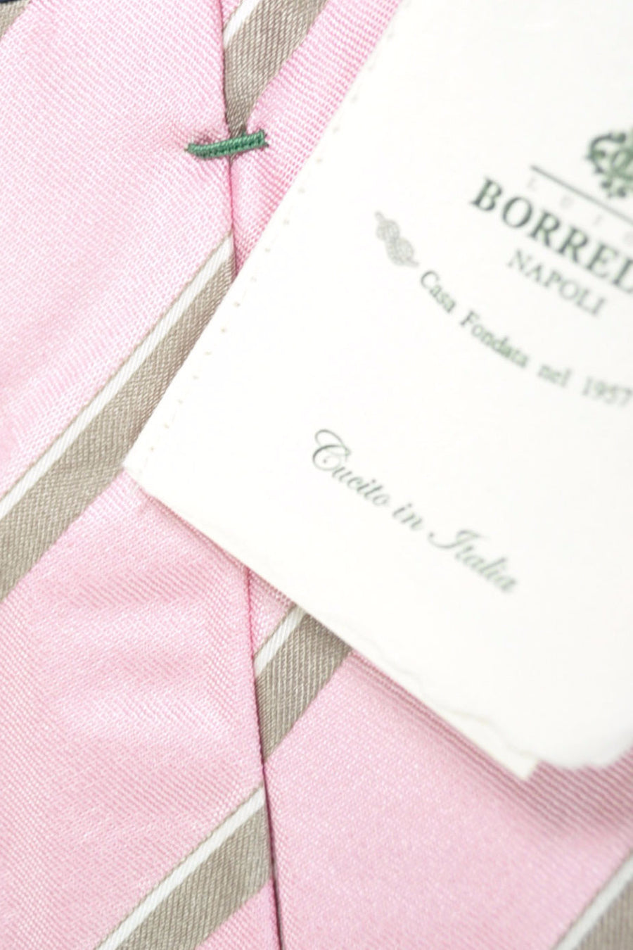 Luigi Borrelli Sevenfold Tie ROYAL COLLECTION Pink Taupe White Stripes