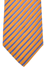 Luigi Borrelli Sevenfold Tie ROYAL COLLECTION Rust Orange Royal Blue Stripes