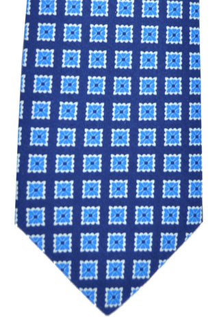 Luigi Borrelli Sevenfold Tie ROYAL COLLECTION Navy Blue White Geometric