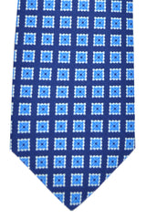 Luigi Borrelli Sevenfold Tie ROYAL COLLECTION Navy Royal Blue White Geometric