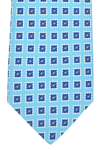 Luigi Borrelli Sevenfold Tie ROYAL COLLECTION Sky Blue Navy White Geometric