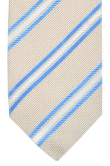 Luigi Borrelli Sevenfold Tie ROYAL COLLECTION Taupe Silver Blue Stripes