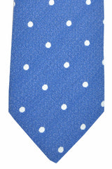 Luigi Borrelli Sevenfold Tie ROYAL COLLECTION Navy Silver Polka Dot