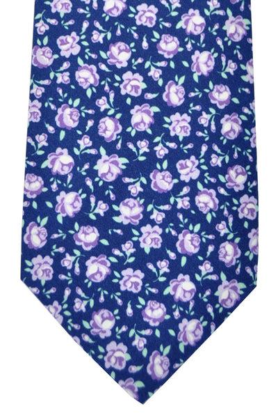 Luigi Borrelli Sevenfold Tie ROYAL COLLECTION Navy Purple Gray Floral