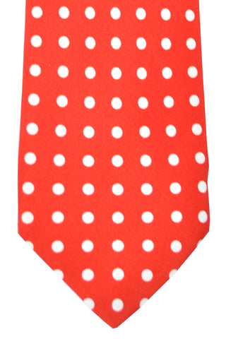 Luigi Borrelli Sevenfold Tie ROYAL COLLECTION Red White Polka Dots