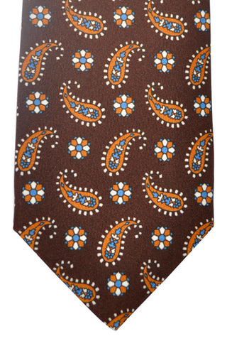 Luigi Borrelli Silk Tie Brown Paisley SALE