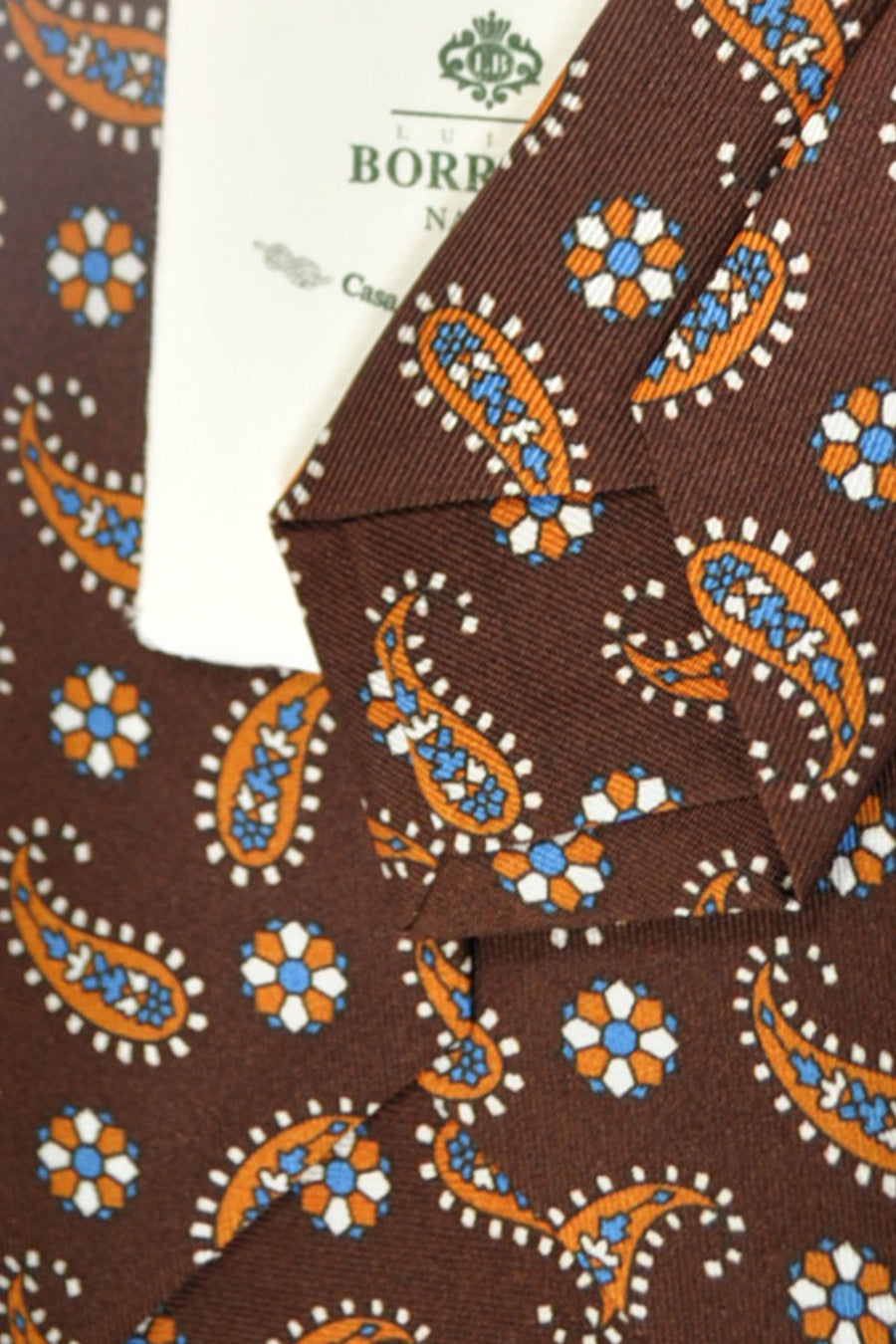 Luigi Borrelli Tie Brown Paisley