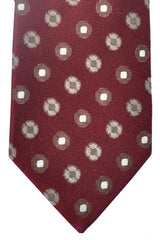 Luigi Borrelli Tie Bordeaux Taupe Purple Geometric