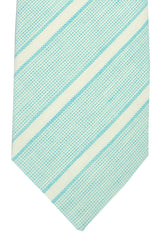 Borrelli Sevenfold Tie ROYAL COLLECTION Aqua White Silver Stripes