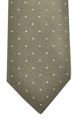 Luigi Borrelli Tie Brown Taupe White Dots Design