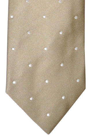 Luigi Borrelli Tie Taupe-Cream Silver Dots FINAL SALE