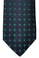 Luigi Borrelli Tie Black Green Geometric Design