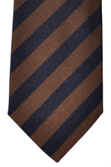 Borrelli Sevenfold Tie ROYAL COLLECTION Navy Brown Stripes